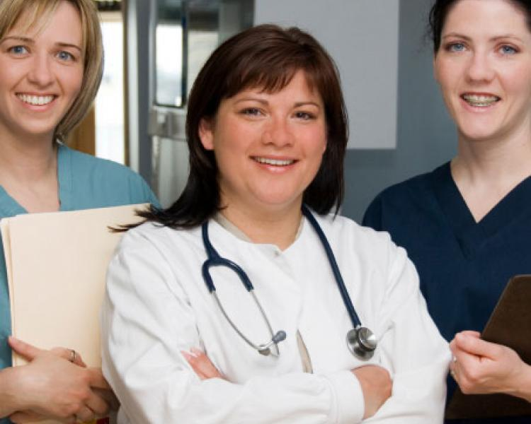group of different types of nurses
