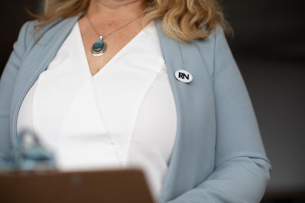 Nurse with RN pin